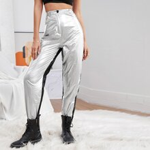 Two Tone Metallic Pants Without Belt