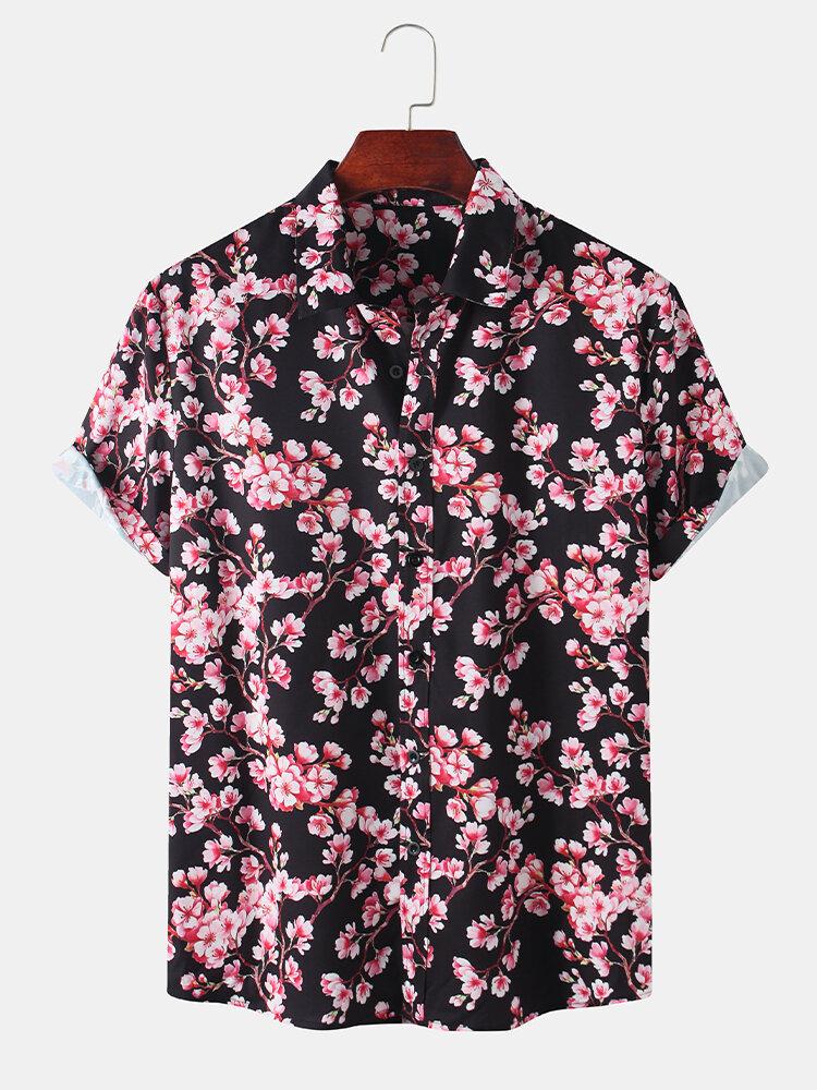 Men Sakura Print Holiday Casual Shirt