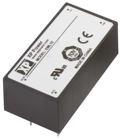 XP Power , 15W AC-DC Converter, 5V dc, Encapsulated, Medical Approved