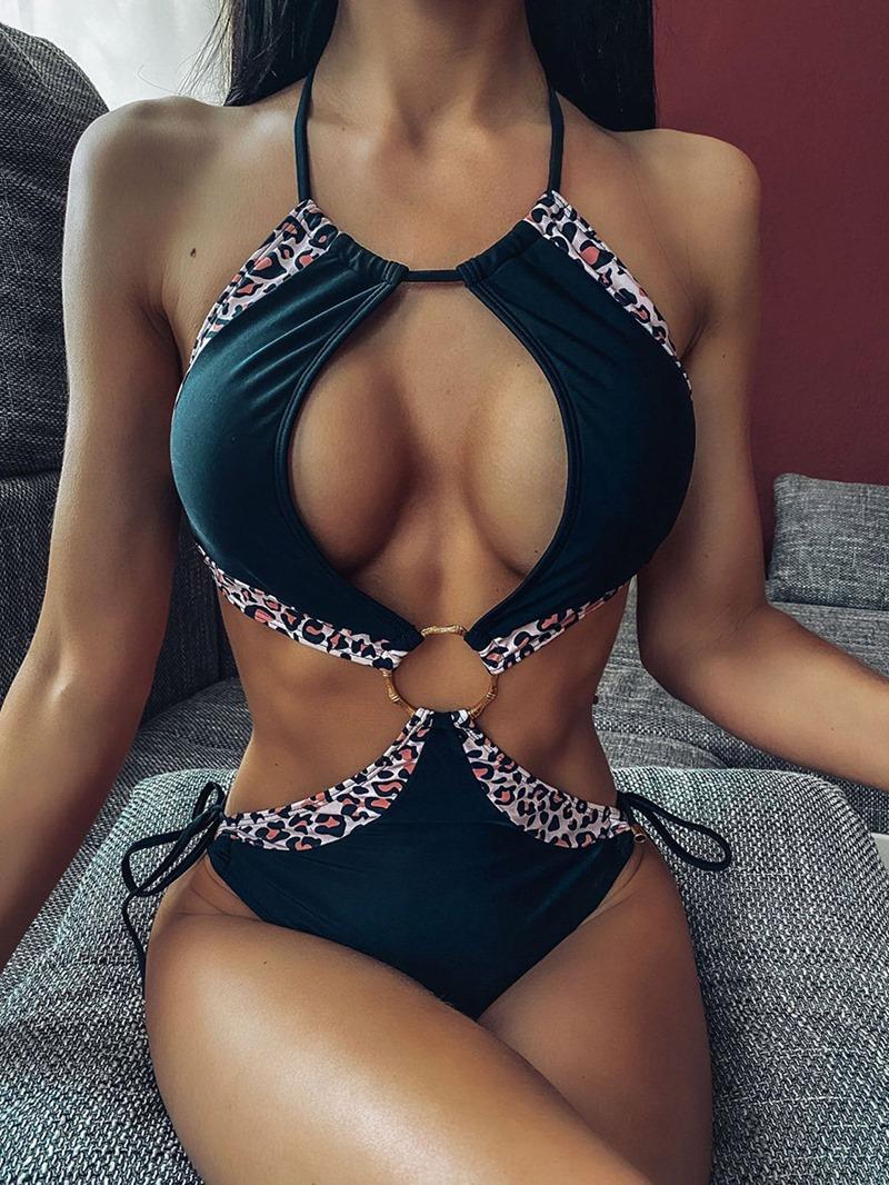 Ericdress Leopard Splice One Piece Swimwear