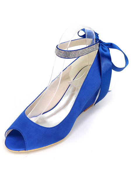 Milanoo Boho Wedge Wedding Shoes Peep Toe Ankle Strap Bridal Pumps in Blue