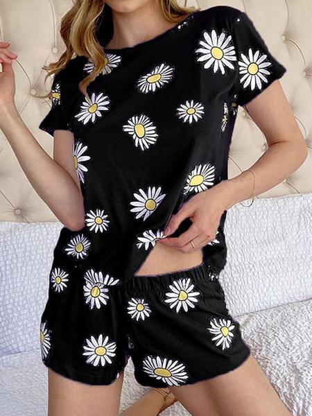 Milanoo Women\'s Loungewear 2-Piece Printed Short Sleeve Jewel Neck Cotton Fibers Sports Swimsuit Camisole Pajamas