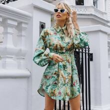Collared Buttoned Front Fold Pleated Landscape Print Dress