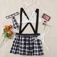 4pack Plus Plaid Contrast Lace Costume Set
