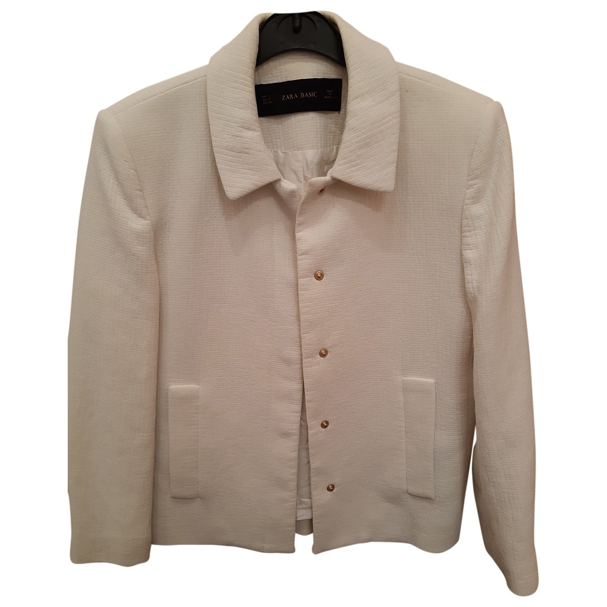 Zara - Veste   pour femme en coton - ecru