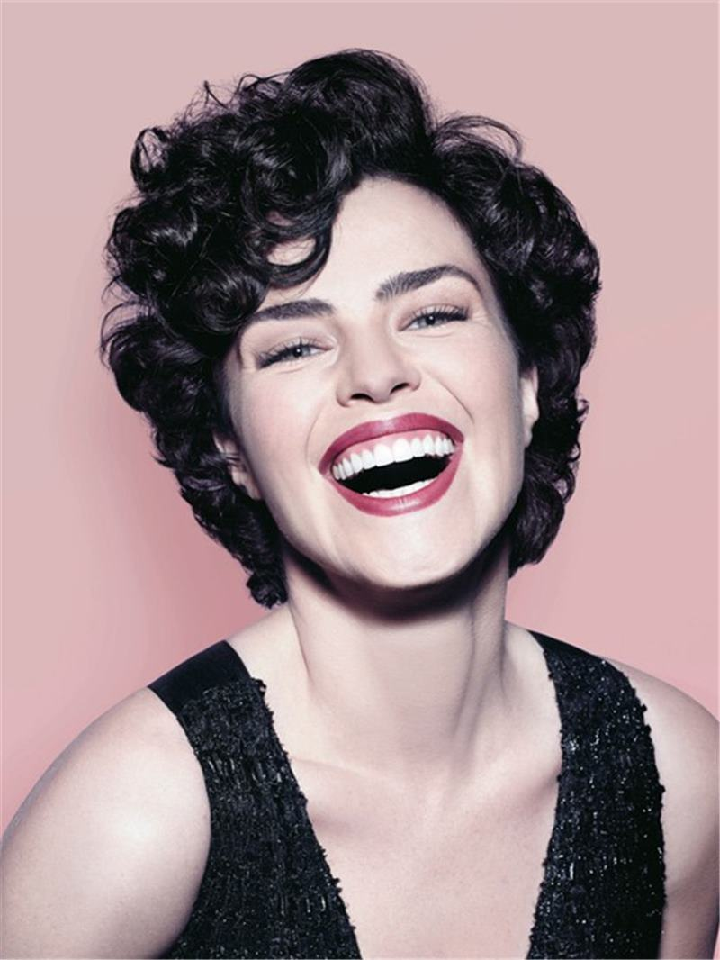 Ericdress Ana Paula Arósio Short Messy Synthetic Hair Loose Curly With Bangs Capless Cap Wigs 6 Inches