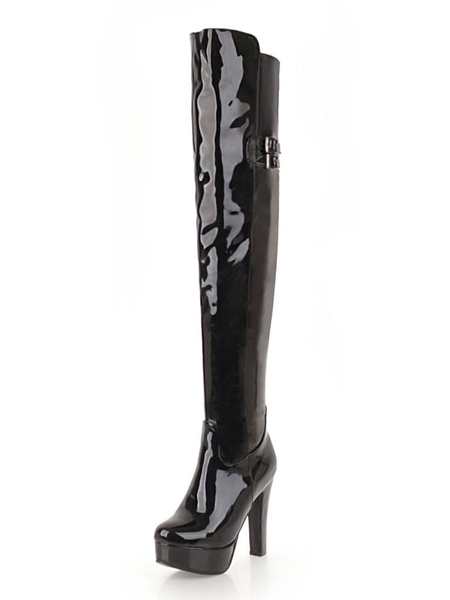 Milanoo Platform Thigh High Boots Womens PU Almond Toe Chunky Heel Over The Knee Boots