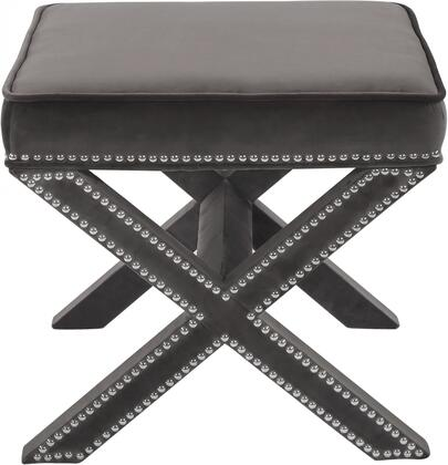 Nixon Collection 126Grey 21 Ottoman with Velvet  Chrome Nail Heads and Contemporary Design in