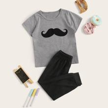 Kleinkind Jungen Schlafanzug Set mit Schnurrbart Muster