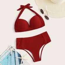 Sets de bikini Nudo Liso Rojo Sexy