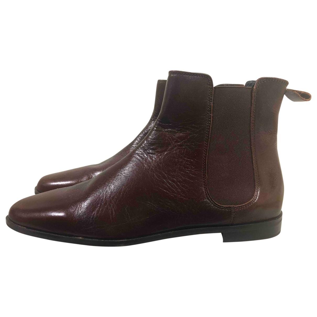 Zara \N Brown Leather Boots for Women 41 EU