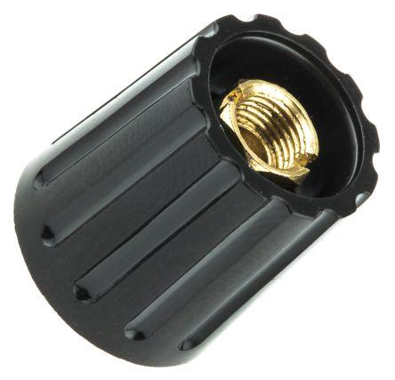 RS PRO Potentiometer Knob, Collet Type, 14.7mm Knob Diameter, Black, 6.4mm Shaft