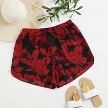 Shorts con nudo con estampado floral