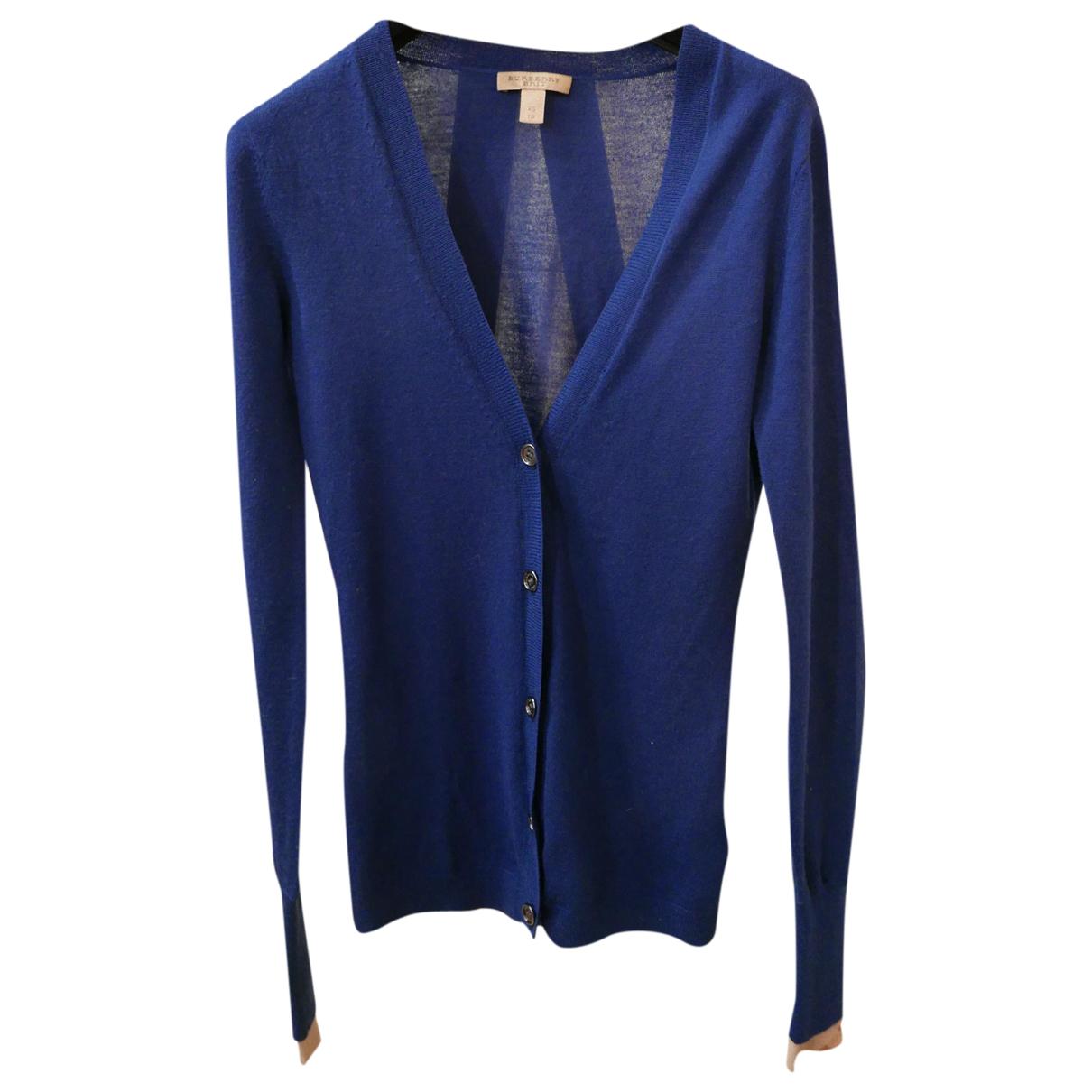 Burberry - Pull   pour femme en laine - bleu