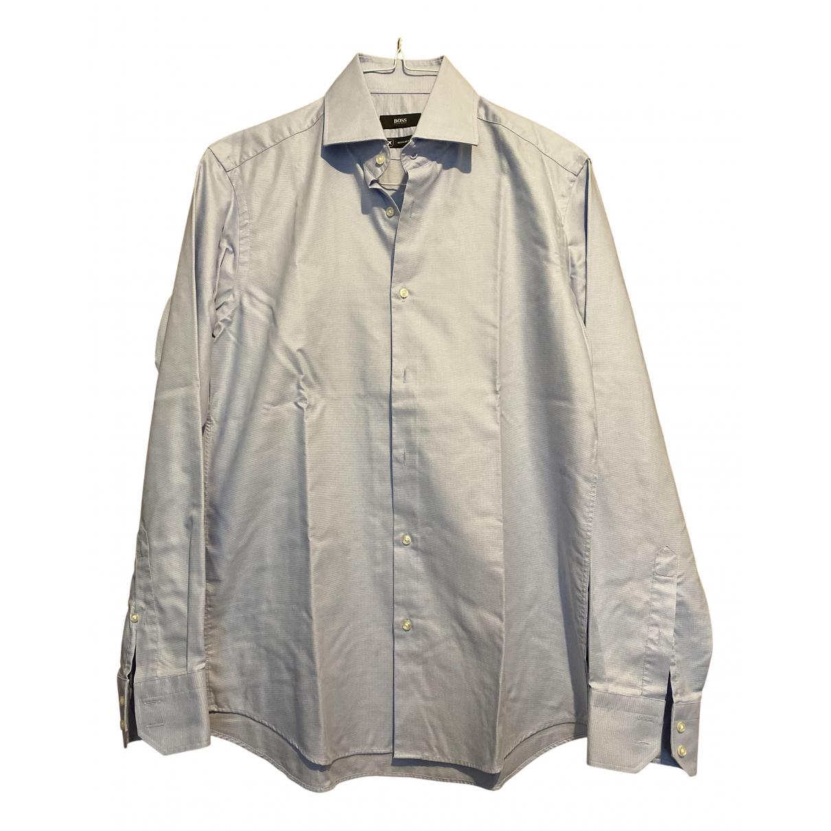 Hugo Boss N Blue Cotton Shirts for Men L International