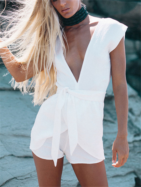 Yoins White Plunge Neckline Self-tie Playsuit