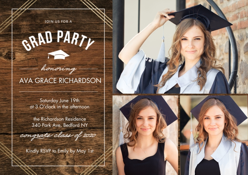 2020 Graduation Invitations 5x7 Cards, Premium Cardstock 120lb with Rounded Corners, Card & Stationery -2020 Grad Party Honoring by Tumbalina