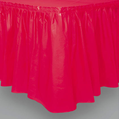 Party Plastic Table Skirt Solid Color Red 29
