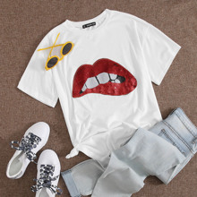 Contrast Sequin Mouth Tee