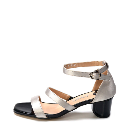 Yoins Grey Satin Chunke Heel Sandals