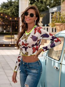 Butterfly Print Mesh Top