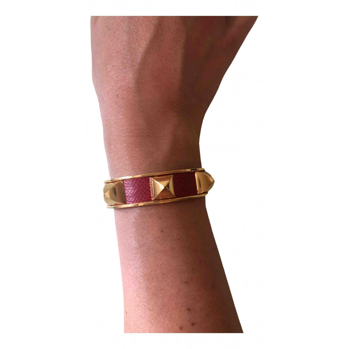 Hermes - Bracelet Collier de chien  pour femme en cuir - dore