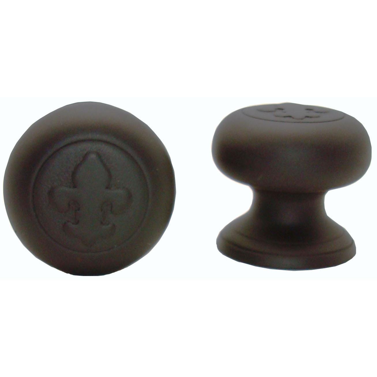 Fleur De Lis Round Knob, Oil Rubbed Bronze