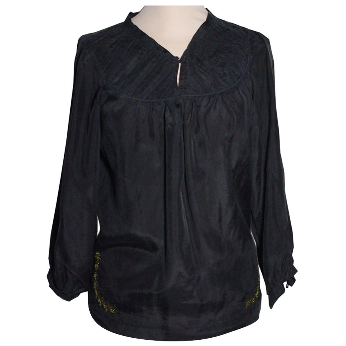 Sandro - Top   pour femme en soie - noir