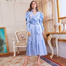 Leg-of-mutton Sleeve Appliques Front Self Belted Satin Dress