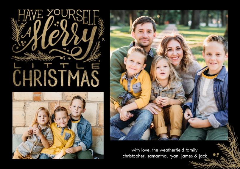 Christmas Photo Cards 5x7 Cards, Premium Cardstock 120lb with Scalloped Corners, Card & Stationery -Christmas Festive Merry by Tumbalina