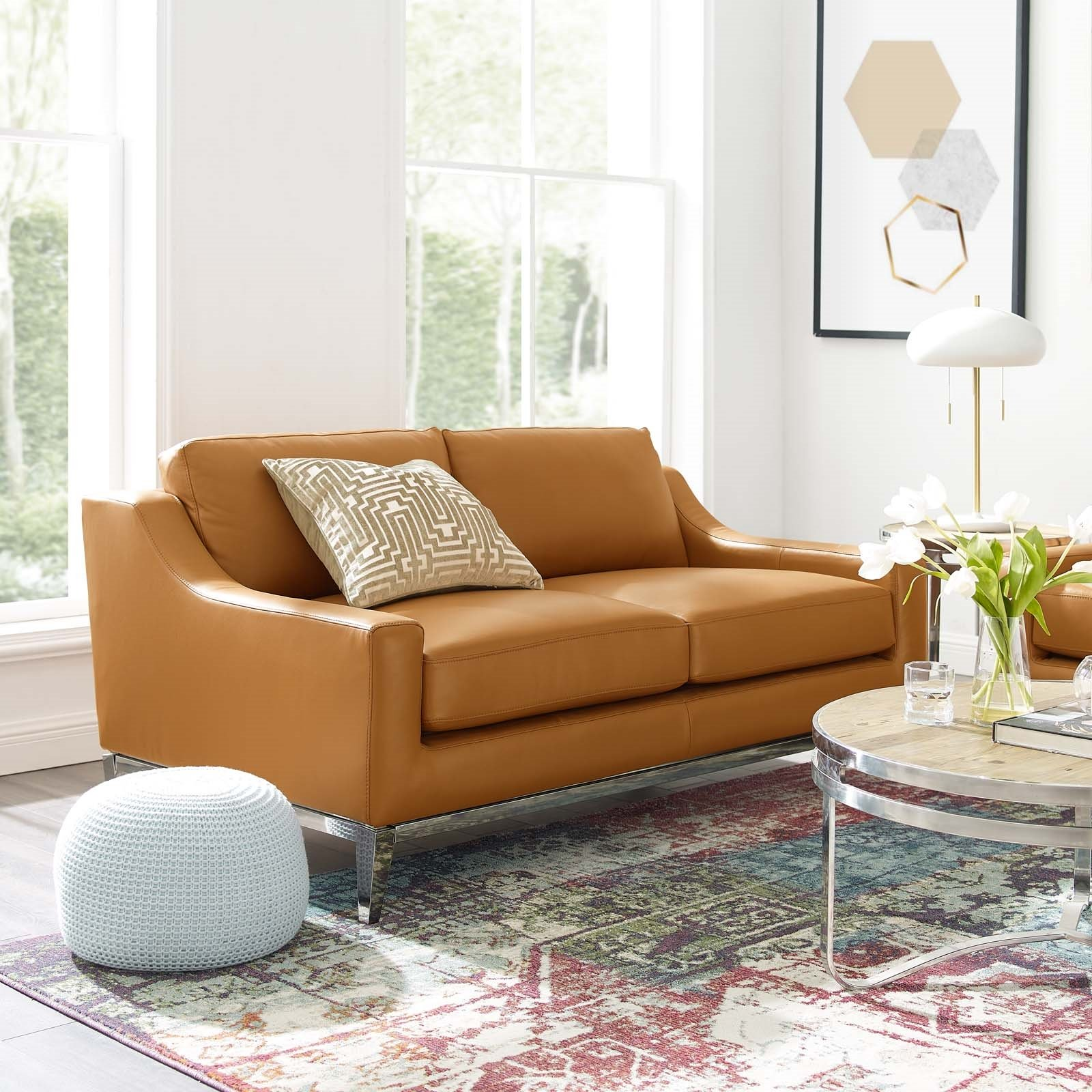 Harness 64 Stainless Steel Base Leather Loveseat in Tan