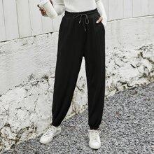 Drawstring Waist Slant Pocket Sweatpants