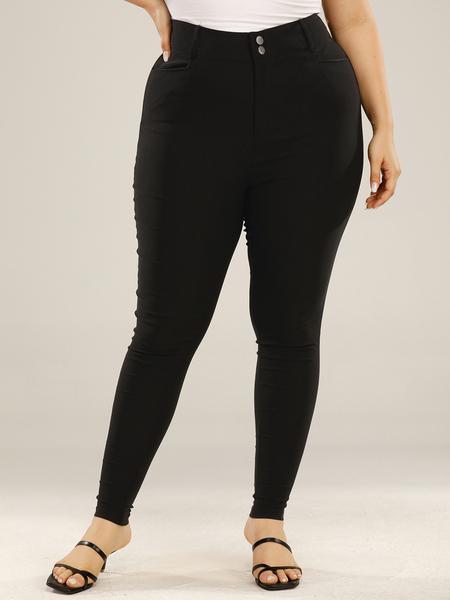 Yoins Plus Size Side Pockets Button Design Pants