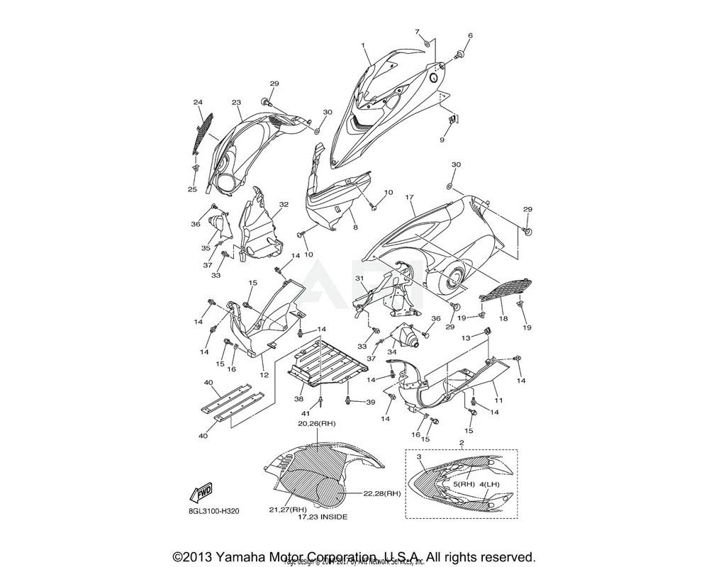Yamaha OEM 8GL-2196E-00-00 FRAME, UNDER 2