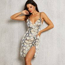 vestido slip de espalda abierta bajo con abertura con estampado de piel de serpiente