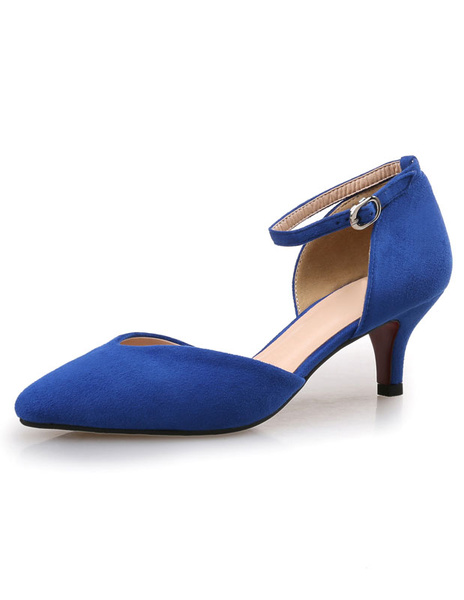Milanoo Blue Kitten Heel Pumps Two-part D'orsay Shoes Suede Ankle Strap Pointed Toe Evening Shoes