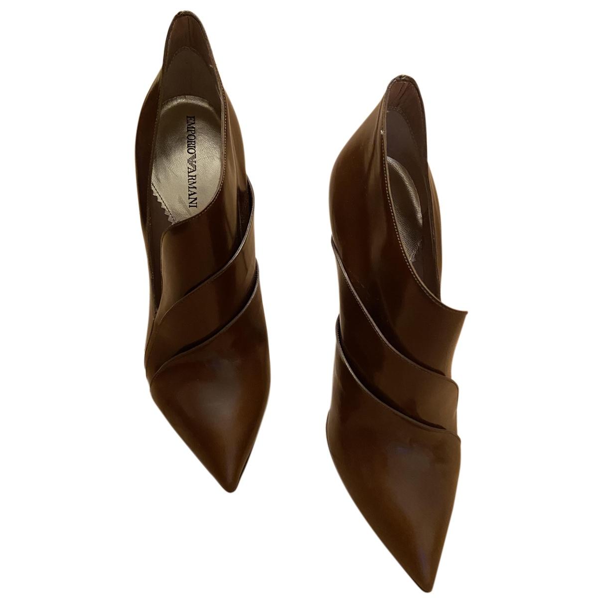 Emporio Armani N Camel Leather Heels for Women 38.5 EU