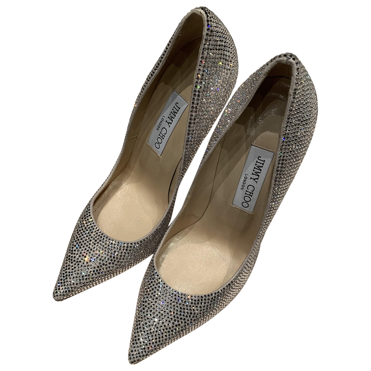Jimmy Choo Anouk Silver Glitter Heels for Women 38.5 EU