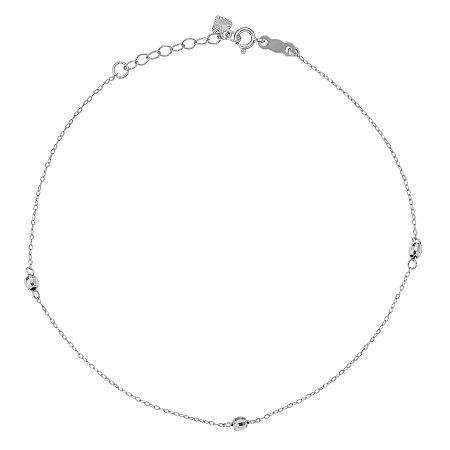 14K White Gold 9 Inch Solid Bead Ankle Bracelet, One Size , No Color Family