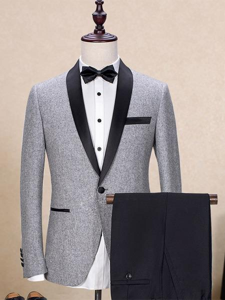 Mens One Button Shawl Lapel Single Breasted Trim Fit Gray Tuxedo