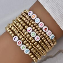 8 Stuecke Armband mit Buchstaben und Perlen Dekor
