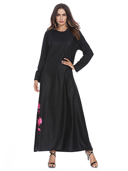 Milanoo Black Abaya Dress Long Sleeve Round Neck Oversized Floral Maxi Dress