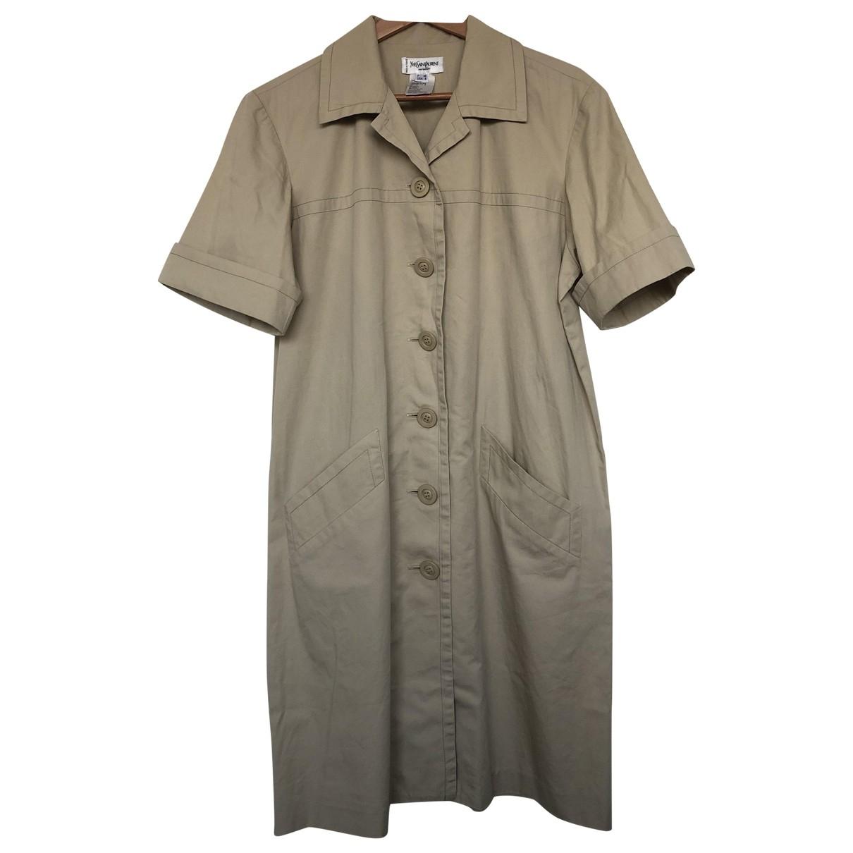 Yves Saint Laurent \N Beige Cotton dress for Women 40 FR