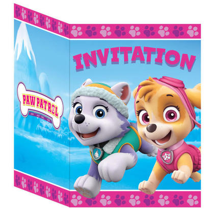 Paw Patrol Girl 8 Invitations For Birthday Party