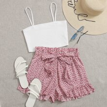 Cami Top & Ditsy Floral Paperbag Belted Shorts