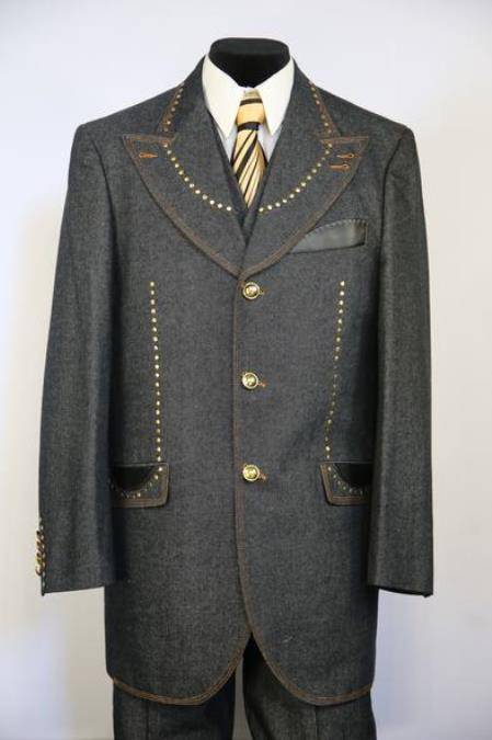 Harlem Brass and Faux Leather Grey Peak Lapel Zoot Suit