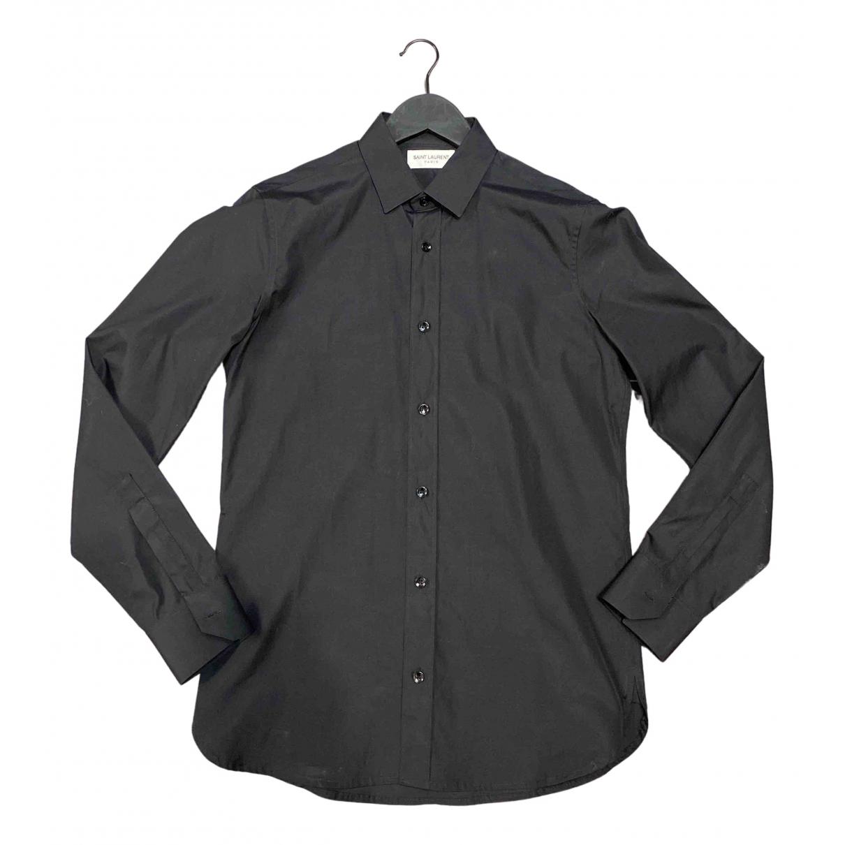 Saint Laurent N Black Cotton Shirts for Men 37 EU (tour de cou / collar)