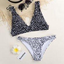 Bikini Badeanzug mit Dalmatiner Muster und V-Kragen
