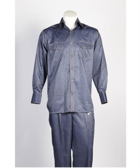 Mens 5 Button Casual Walking Suit Blue