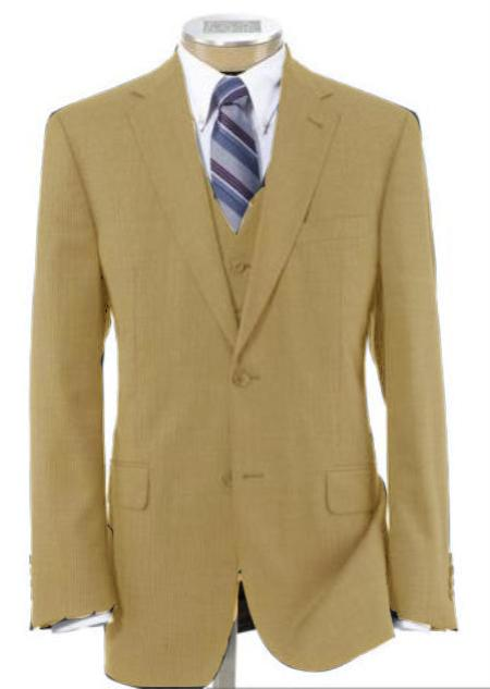 2 Button Wool Vested Camel/British Khaki/Bronze with Pleated Trousers